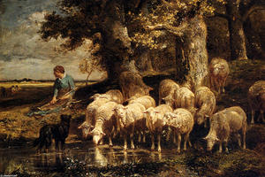 Charles Émile Jacque - A Shepherdess With Her Flock