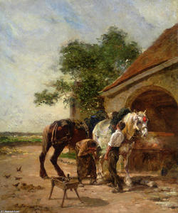 Charles Émile Jacque - Attending to the horses