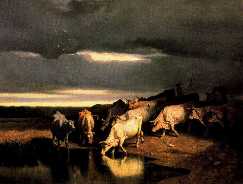Buy Museum Art Reproductions | Cattle in a trough by Charles Émile Jacque (1813-1894, France) | WahooArt.com