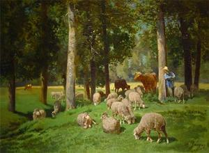 Charles Émile Jacque - Landscape with Sheep