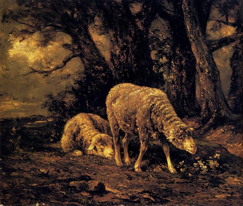 Sheep In A Forest by Charles Émile Jacque (1813-1894, France) | Museum Art Reproductions Charles Émile Jacque | WahooArt.com