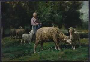 Charles Émile Jacque - Shepherdess with Sheep