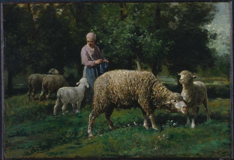 Shepherdess with Sheep, Drawing by Charles Émile Jacque (1813-1894, France)