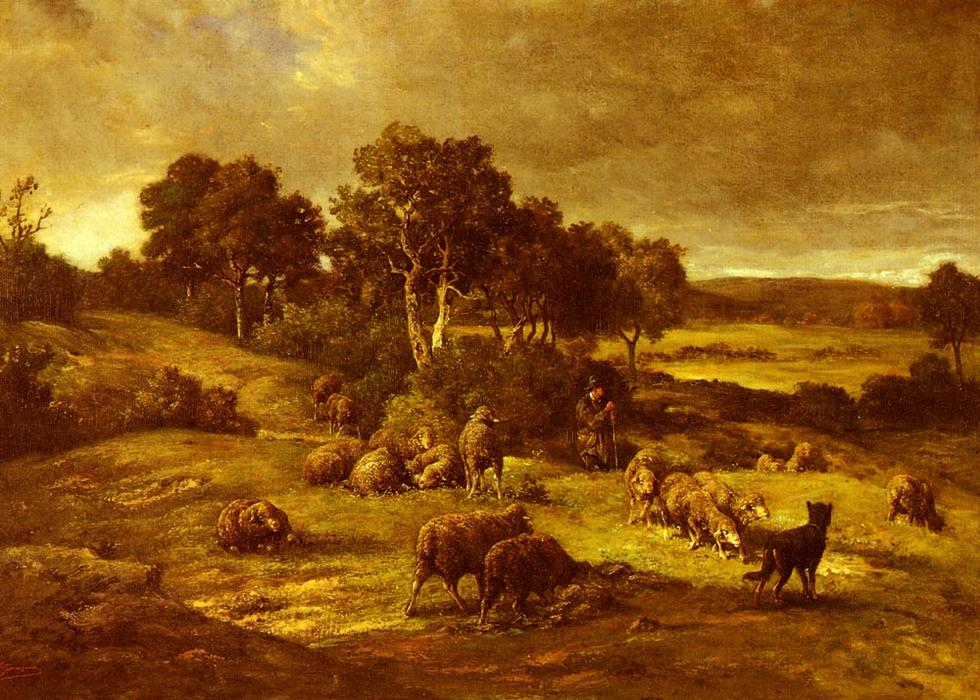 The Herd, Drawing by Charles Émile Jacque (1813-1894, France)