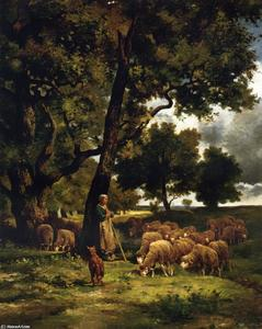 Charles Émile Jacque - The Shepherdess and Her Flock