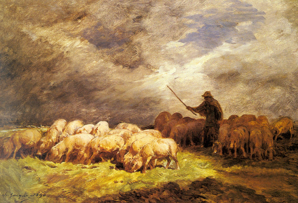 The Swineherd by Charles Émile Jacque (1813-1894, France) | WahooArt.com