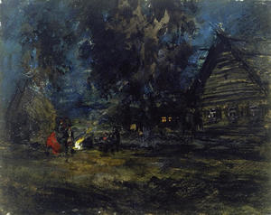 Konstantin Alekseyevich Korovin - Sketch of a Russian Village