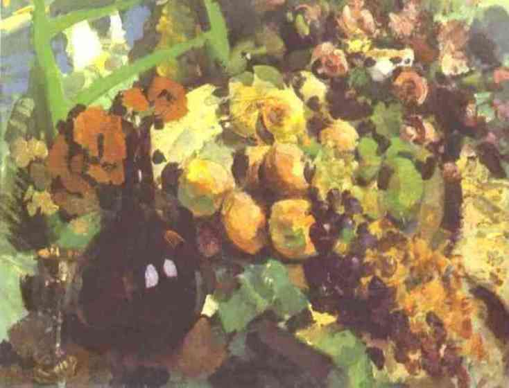 Still Life, Wine and Fruit, Oil On Canvas by Konstantin Alekseyevich Korovin (1861-1939, Russia)
