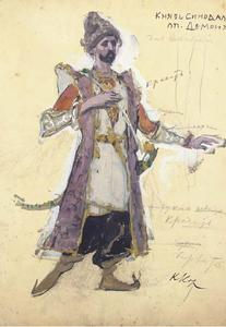 Konstantin Alekseyevich Korovin - Two costume designs; one for Demon; Prince Sinodal