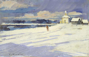 Konstantin Alekseyevich Korovin - Winter Landscape with a small Church