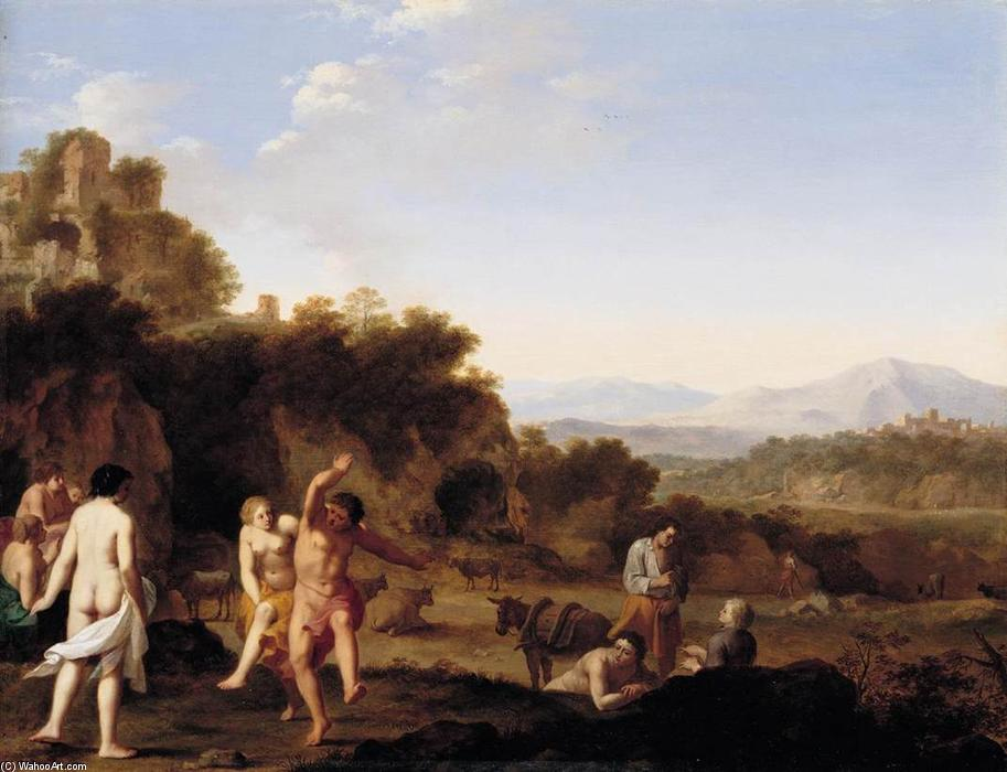 Italianate Landscape with Dancing Figures, Oil On Panel by Cornelis Van Poelenburgh (1595-1667, Netherlands)
