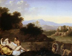 Cornelis Van Poelenburgh - Landscape with Nymphs