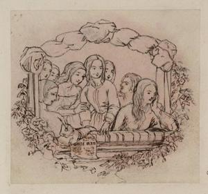 Daniel Maclise - The Opera Box, Design for a Wood Engraving. Tracing, from the Principal Figure in Reverse