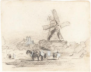 David Cox - A Cart With Two Horses Near A Windmill