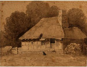 David Cox - A Dog By A Thatched Cottage