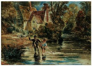 David Cox - A Man And Child Fishing In A Stream By A Cottage