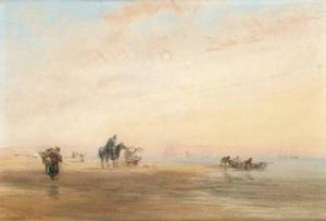 David Cox - Early Morning On The French Coast, Shrimpers With Their Nets