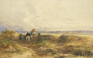 David Cox - Figures On Horseback Among The Sand Dunes