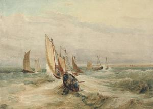 David Cox - Fishing Boats In A Squall Off Fleet, Hampshire