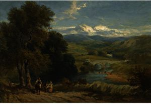 David Cox - Landscape With A Distant View Of Bolton Abbey, Yorkshire, And The River Wharfe