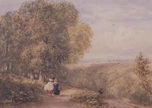 David Cox - Road Scene With Two Figures On The Left