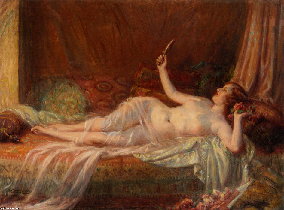 After bath, Drawing by Delphin Enjolras (1865-1945, France)