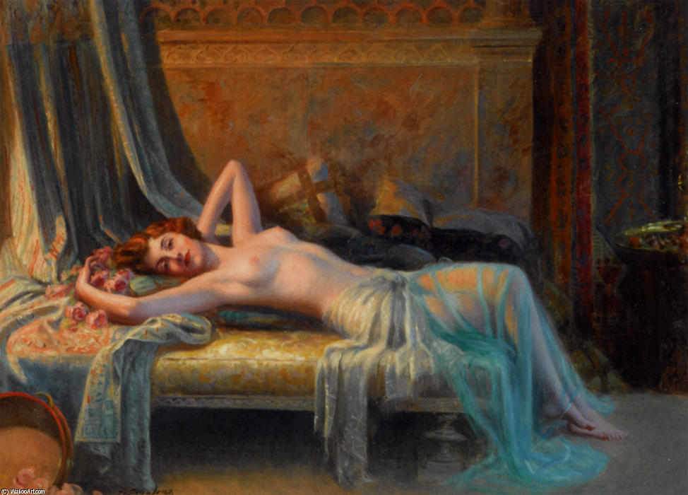 Nude Lying On Roses Bouquet by Delphin Enjolras (1865-1945, France) | Painting Copy | WahooArt.com