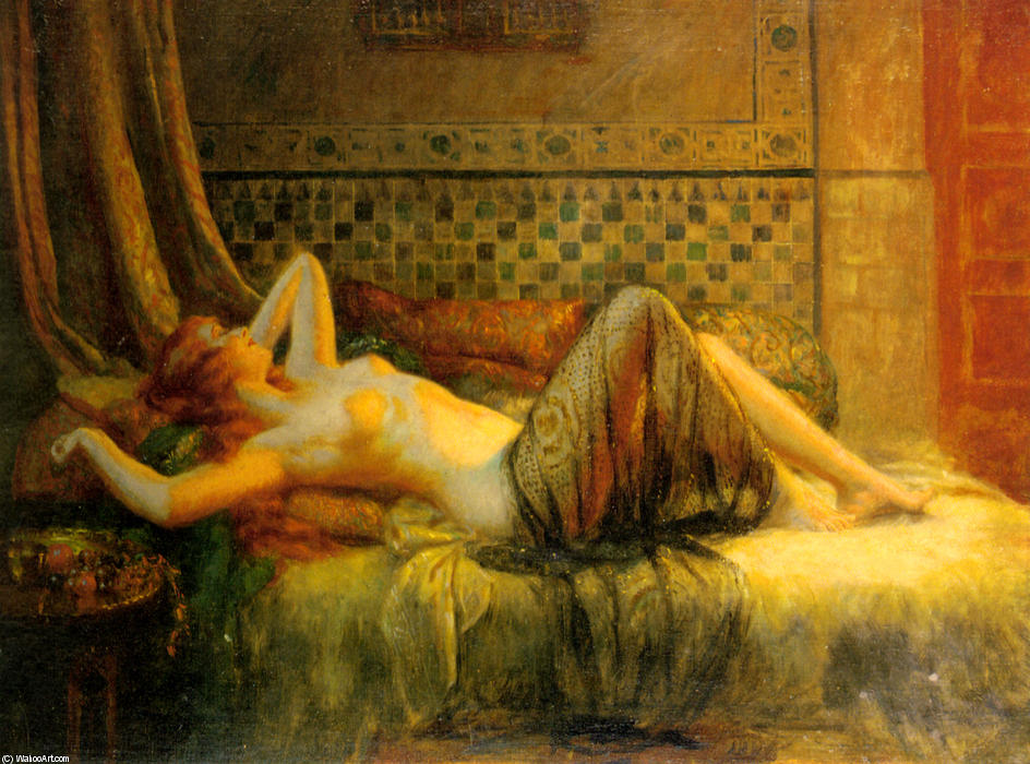 Reclining Nude by Delphin Enjolras (1865-1945, France) | Famous Paintings Reproductions | WahooArt.com