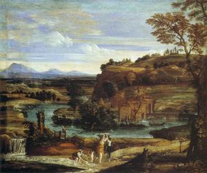 Domenichino (Domenico Zampieri) - Landscape with a Child Overturning Wine