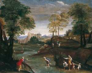 Domenichino (Domenico Zampieri) - Landscape with Ford
