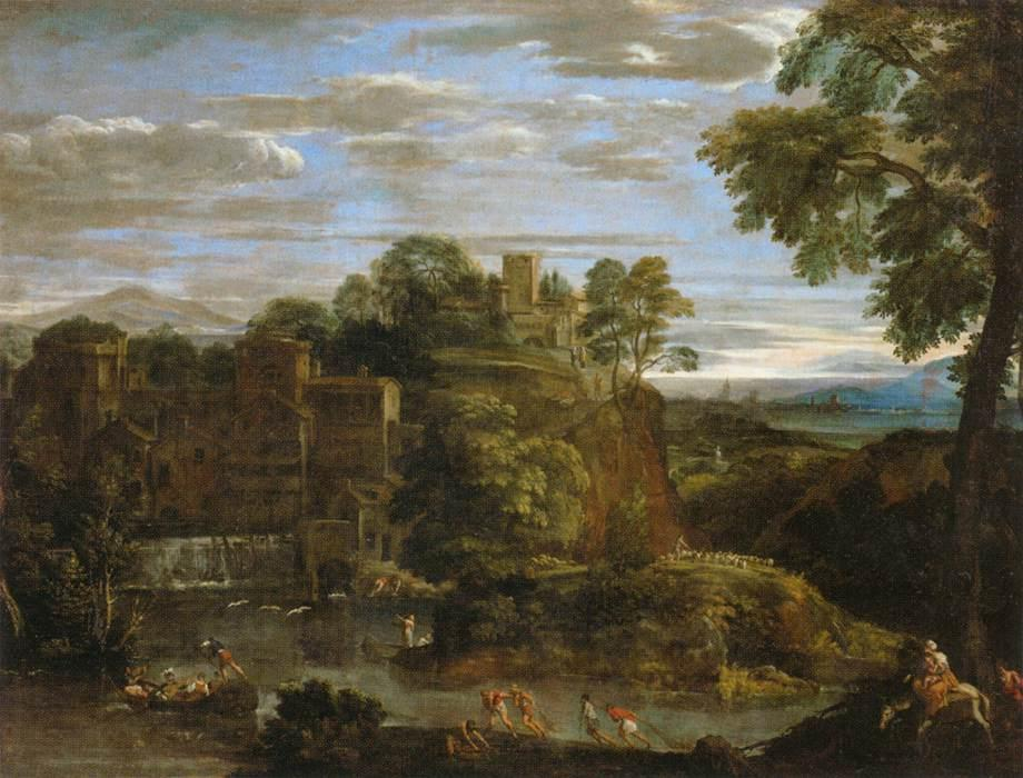 Landscape with the Flight into Egypt 1, Drawing by Domenichino (Domenico Zampieri) (1581-1641, Italy)