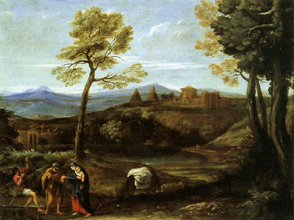 Landscape with the Flight into Egypt by Domenichino (Domenico Zampieri) (1581-1641, Italy) | Museum Quality Reproductions | WahooArt.com