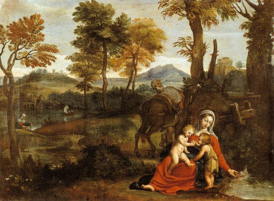 The Rest on the Flight into Egypt, Drawing by Domenichino (Domenico Zampieri) (1581-1641, Italy)