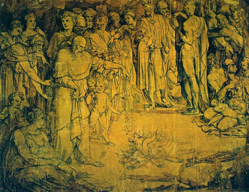 Adoration of the golden calf, Drawing by Domenico Di Pace Beccafumi (1486-1551, Italy)