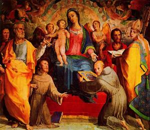 Domenico Di Pace Beccafumi - Madonna and Child Enthroned with Six Saints and Angels