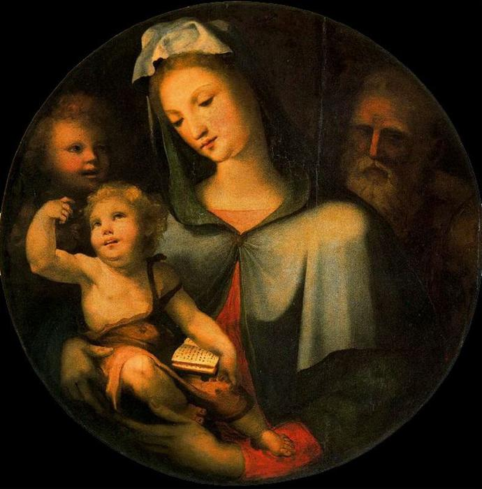 The Holy Family with the child St. John, Drawing by Domenico Di Pace Beccafumi (1486-1551, Italy)