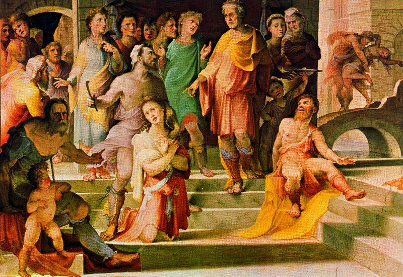 The sacrifice of Seleucus of Locri 1, Drawing by Domenico Di Pace Beccafumi (1486-1551, Italy)