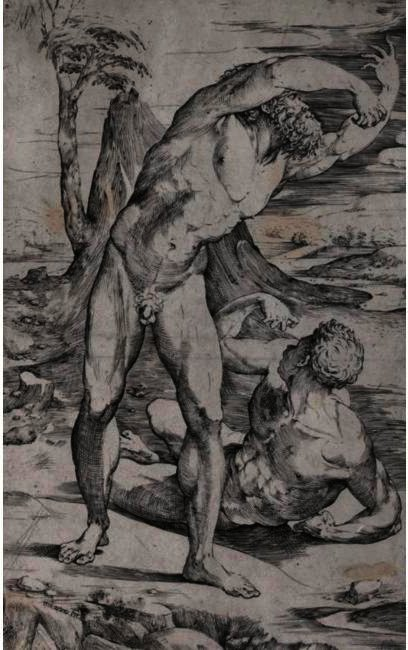 TWO MALE NUDES IN A LANDSCAPE, Drawing by Domenico Di Pace Beccafumi (1486-1551, Italy)