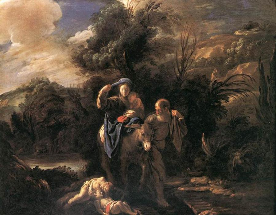 Order Famous Paintings Reproductions : Flight to Egypt by Domenico Feti (Domenico Fetti) (1589-1623, Italy) | WahooArt.com