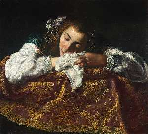 Domenico Feti (Domenico Fetti) - Sleeping Girl