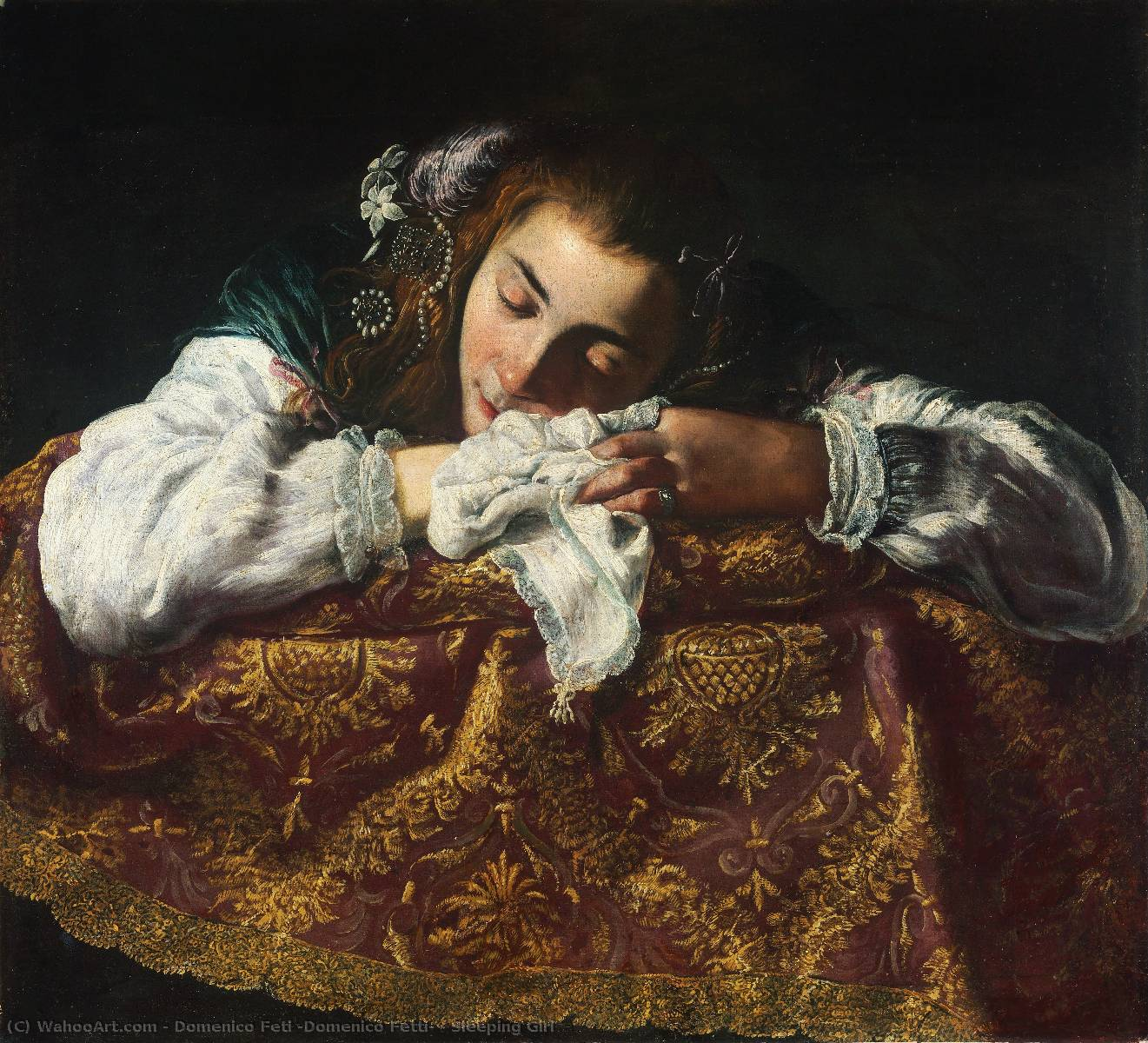 Sleeping Girl by Domenico Feti (Domenico Fetti) (1589-1623, Italy) | Painting Copy | WahooArt.com