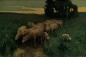 Eanger Irving Couse - At The Spring (Sheep In Field)