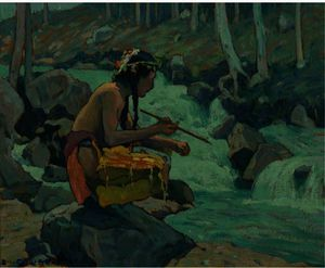 Eanger Irving Couse - Indian By A Stream