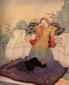 Edmund Dulac - Eric lay now, stretched at the feat of the woman he could not leave