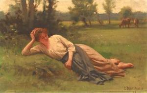 Edouard Debat-Ponsan - A rest in the meadow
