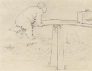Edward Coley Burne-Jones - A large child on a see-saw
