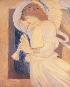Edward Coley Burne-Jones - An Angel Playing a Flageolet
