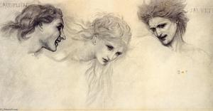 Edward Coley Burne-Jones - Head Study for 'The Masque of Cupid'