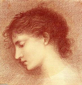 Edward Coley Burne-Jones - Head-Study of Maria Zambaco, probably for 'The Wine of Circe'