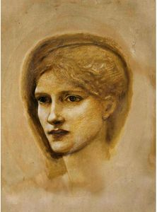 Edward Coley Burne-Jones - Study Of A Girl's Head 1